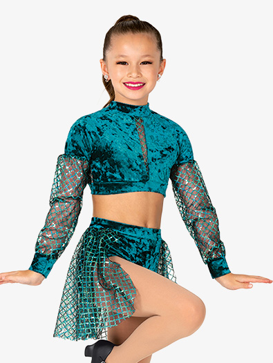 Girls Performance Velvet and Sequin Set - Style No EL408C