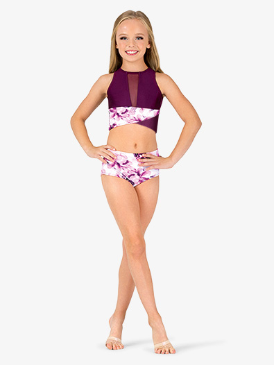 Girls Floral Print Dance Briefs - Style No ELA10C