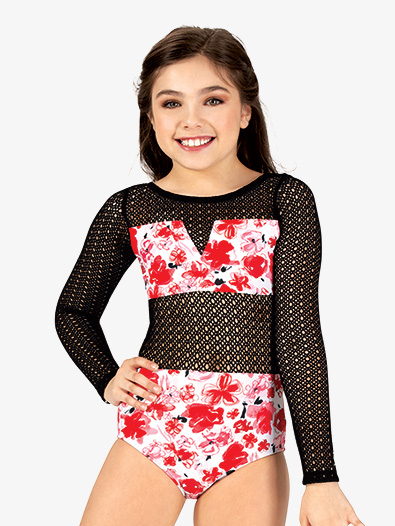 Girls Floral Mesh Long Sleeve Leotard - Style No ELA20C