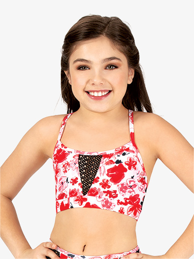Girls Floral Camisole Dance Bra Top - Style No ELA21C