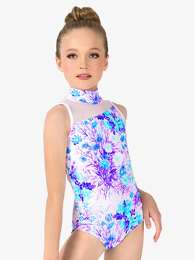 Girls Pastel Flowers Asymmetrical Tank Leotard - Style No ELA33C