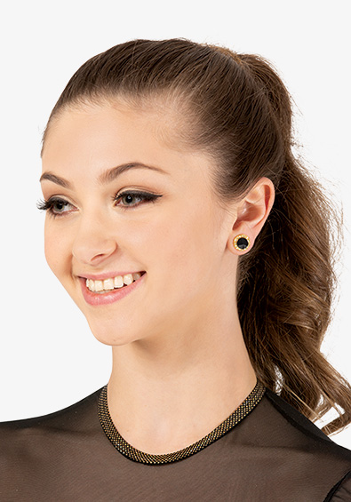 10mm Celestial Gold Plated Black Post Earrings - Style No EP8GSB