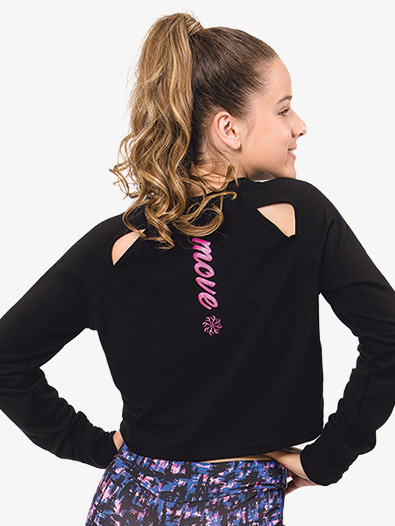 Girls Back Cutout Long Sleeve Dance Crop Top - Style No FD1300