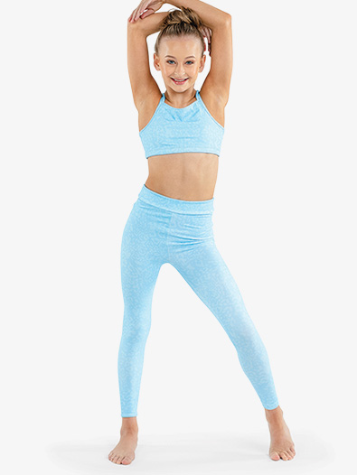 Girls Elastic Waistband Full Length Workout Leggings - Style No FD618