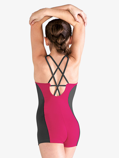 Girls Two-Tone Strappy Back Dance Shorty Unitard - Style No FM5087Cx