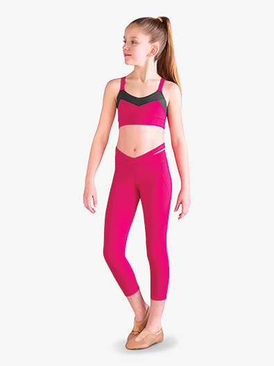 Girls Crisscross Crop Dance Leggings - Style No FP5082C