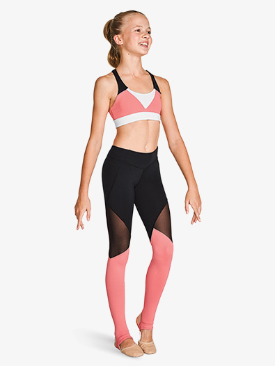 Girls Color Block Mesh Insert Active Leggings - Style No FP5209Cx