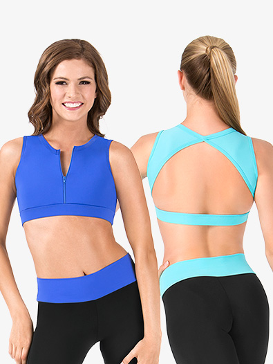 Adult Zip Front Triangle Back Tank Crop Top - Style No FW2043