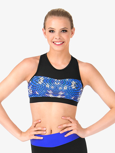 Adult Mesh Sweetheart Blue Geometric Printed Tank Crop Top - Style No FW2051x