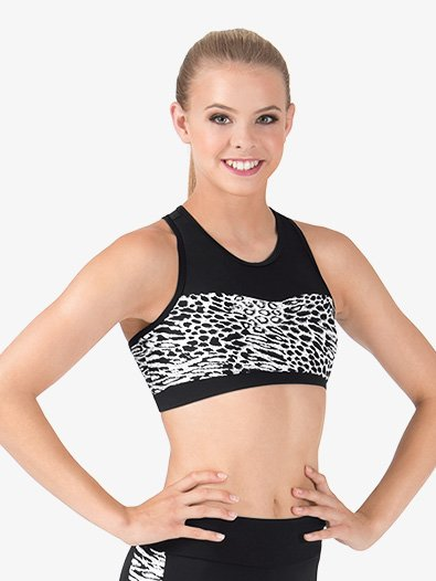 Adult Mesh Sweetheart White Leopard Printed Tank Crop Top - Style No FW205