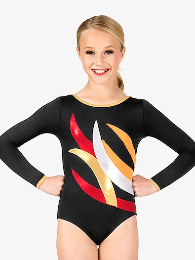 Womens Gymnastics Contrast Spliced Long Sleeve Leotard - Style No G675x