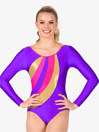 Womens Gymnastics Spliced Print Long Sleeve Leotard - Style No G677x