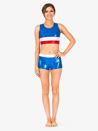 Womens Gymnastics Patriotic Print Shorts - Style No G688x