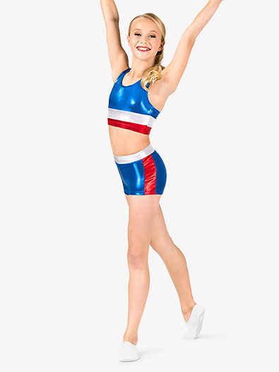 Girls Gymnastics Patriotic Print Shorts - Style No G688Cx