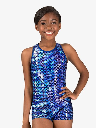 Girls Gymnastics Fish Scale Print Tank Shorty Unitard - Style No G690Cx