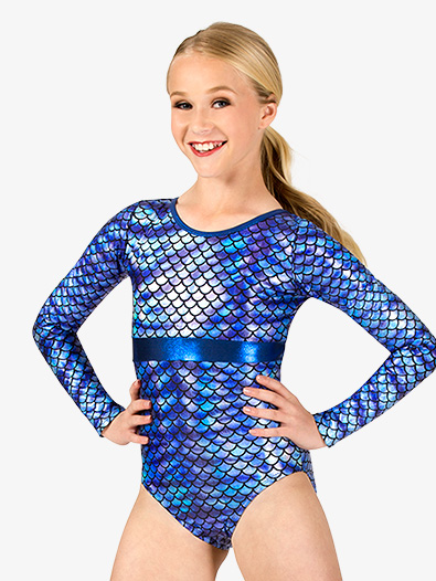 Girls Gymnastics Fish Scale Print Long Sleeve Leotard - Style No G691C