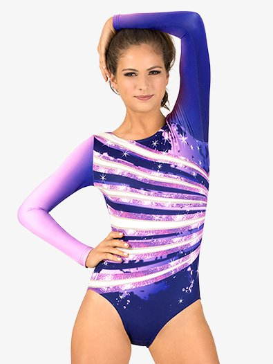 Womens Ombre Sparkle Sublimated Print Long Sleeve Gymnastics Leotard - Style No G712