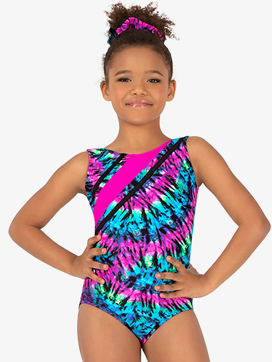 Girls Gymnastics Neon Tie-Dye Strappy Tank Leotard - Style No G726C
