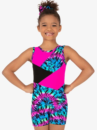 Girls Gymnastics Neon Tie-Dye Tank Shorty Unitard - Style No G728C