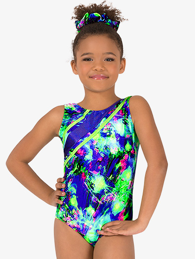 Girls Gymnastics Lime Green Splatter Strappy Tank Leotard - Style No G729C