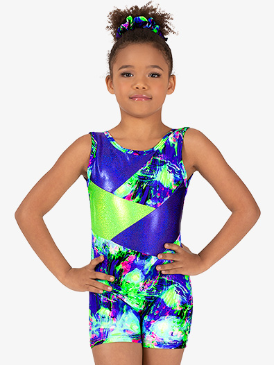 Girls Gymnastics Lime Green Splatter Tank Shorty Unitard - Style No G731C