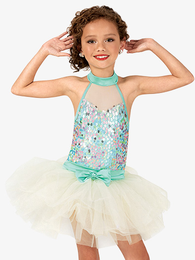 Girls Pastel Sequin Mock Neck Costume Tutu Dress - Style No GRA122C
