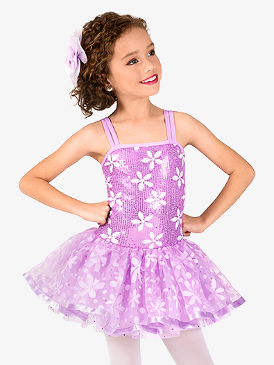 Girls Flower Print Sequin Costume Tutu Dress - Style No GRA132C