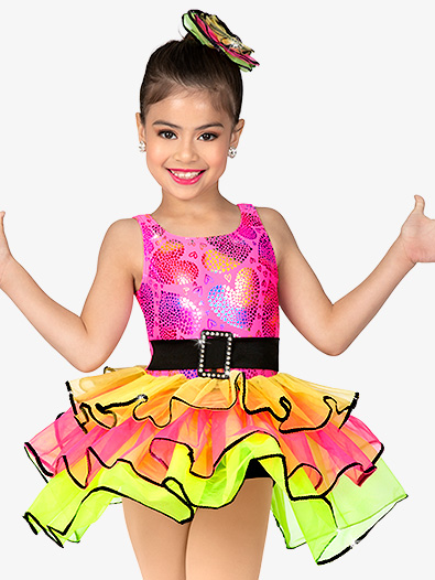 Girls Performance Contrast Three-Tier Tank Tutu Dress - Style No GRA140C