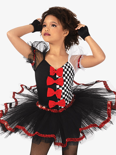 Girls Performance Asymmetrical Checkered Tutu Dress - Style No GRA142C