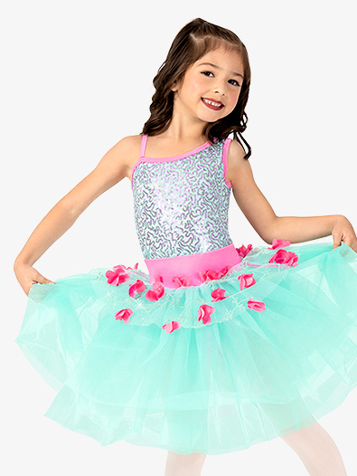 Girls Performance Asymmetrical 3D Floral Tutu Dress - Style No GRA145C