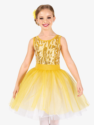 Girls Performance Animal Print Sequin Tutu Dress - Style No GRA146C