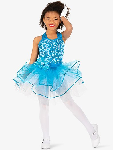 Girls Performance Two-Tone Sequin Halter Tutu Dress - Style No GRA148C
