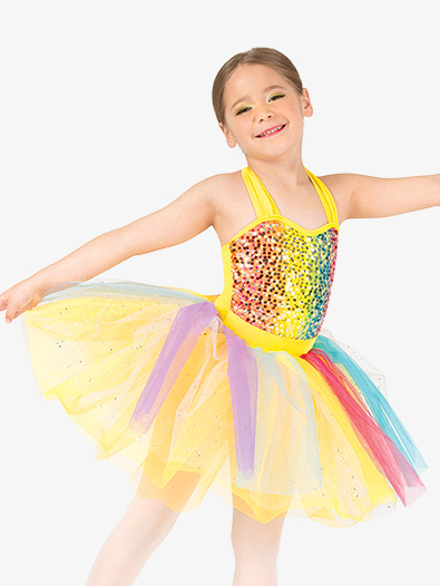 Girls Rainbow Sequin Halter Dance Costume Dress Set - Style No GRA150C