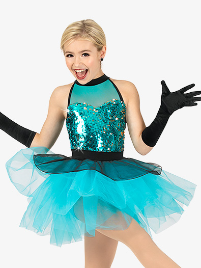 Girls Performance Contrast Sequin Halter Tutu Dress - Style No GRA153C