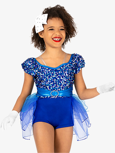 Girls Performance Sequin Bustled Shorty Unitard - Style No GRA154C