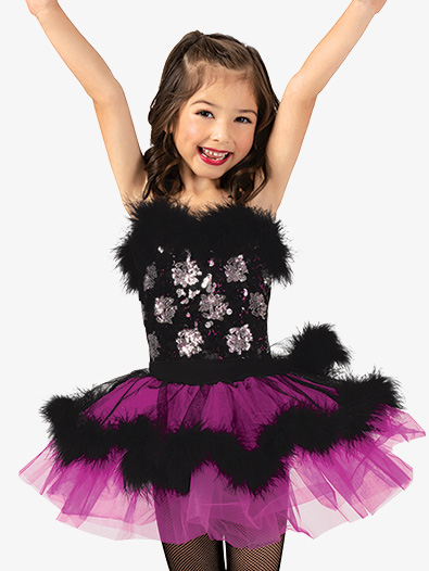 Girls Performance Faux Fur Trim Camisole Tutu Dress - Style No GRA156C