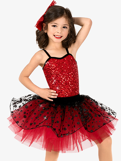 Girls Performance Two-Tone Sequin Dot Tutu Dress - Style No GRA160C