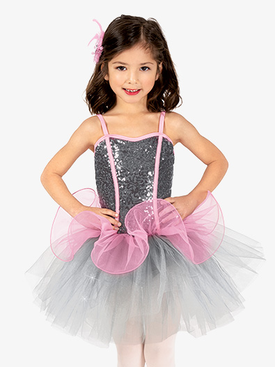 Girls Performance Two-Tone Corset Camisole Tutu Dress - Style No GRA161C