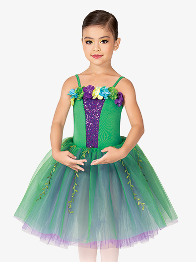 Girls Performance Floral Camisole Tutu Dress - Style No GRA182C