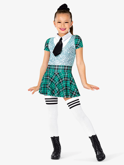 Girls Performance Plaid and Sequin School Uniform Costume Set - Style No GRA183C