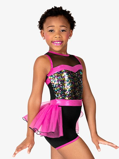 Girls Performance Sequin Tank Bustle Unitard - Style No GRA198C