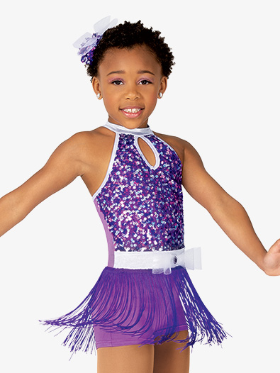 Girls Performance Sequin and Fringe Tank Unitard - Style No GRA205C