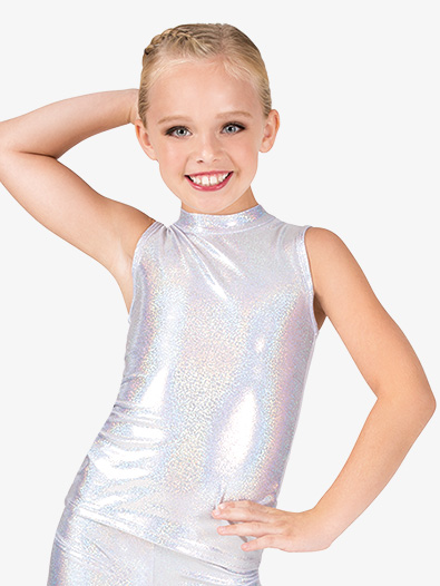 Girls Iridescent Mock Neck Performance Tank Top - Style No ING127C
