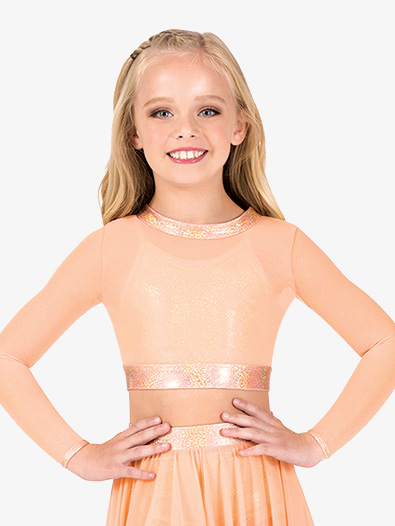 Girls Mesh Iridescent Performance Long Sleeve Crop Top - Style No ING142Cx