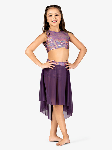 Girls Iridescent Waistband Performance High-Low Skirt - Style No ING146Cx