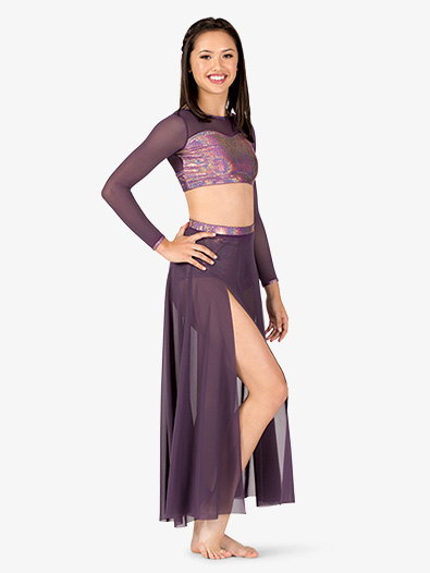 Womens Iridescent Performance Long Mesh Skirt - Style No ING147x
