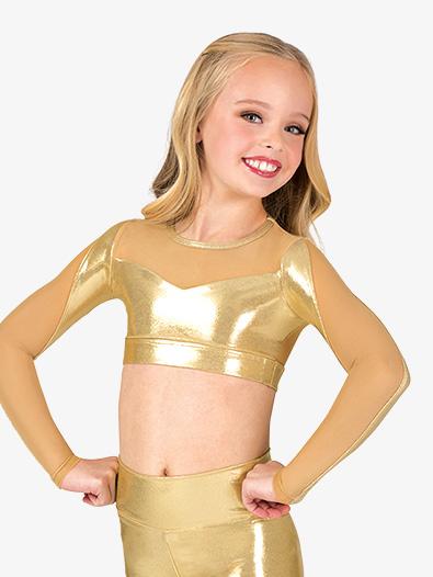 Girls Performance Metallic Mesh Long Sleeve Crop Top - Style No ING163Cx