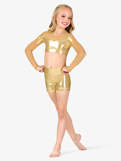 Girls Performance Metallic High Waist Shorts - Style No ING169Cx