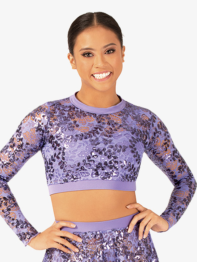 Womens Performance Sequin Lace Long Sleeve Crop Top - Style No ING204