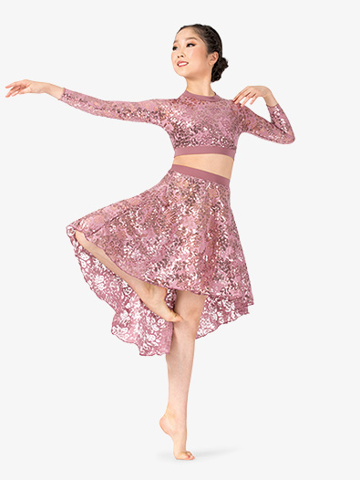 Girls Performance Sequin Lace High Low Skirt - Style No ING206C